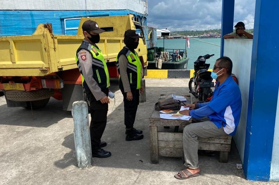Ops Yustisi, Polsek Kawasan Pelabuhan SBP Lakukan Pendisiplinan Protokol Covid-19
