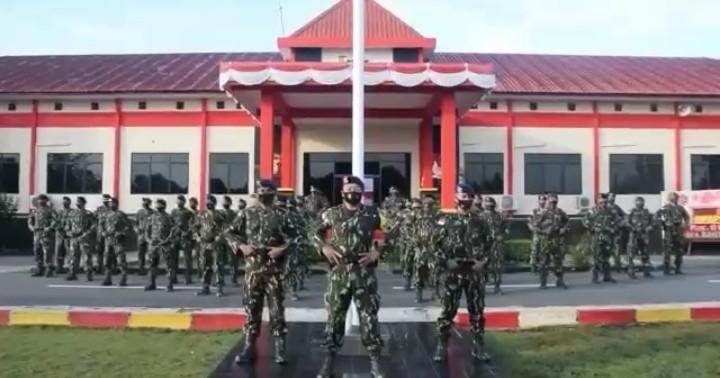 HUT Korps Marinir ke 75, Sat Brimob Polda Kepri Beri Ucapan kepada Batalyon Infanteri 10 Marinir SBY